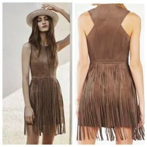 BCBG Maxazria Hamiin Brown Fringe Faux Suede Dress